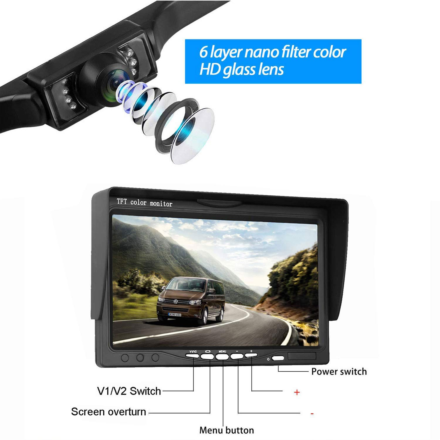 LeeKooLuu Backup Camera and 7 Monitor System for Car//SUV//Van//Pickup Truck//RV//Trailer Single Power Rear//Side//Front View System Reversing//Driving Use IP68 Waterproof Night Vision Guide Lines ON//Off LKL-04014