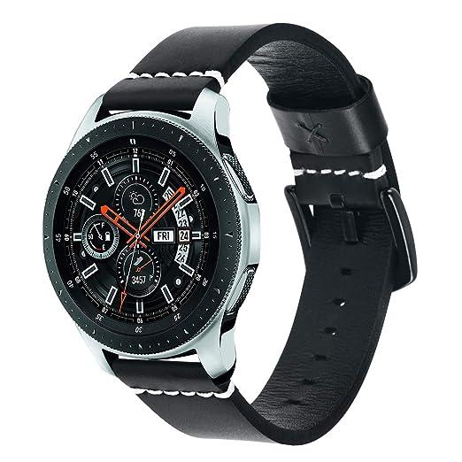 Dmorr Uhrenarmband für Samsung Galaxy Watch 46mm SM-R800, 22mm Schnelle Veröffentlichung Armband Echtes Lederarmband Ersatz m