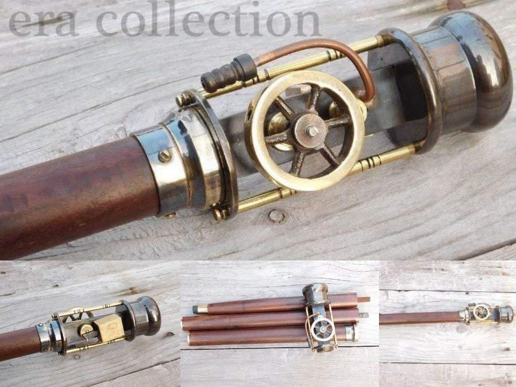 Royal Victorian Export Vintage Retro STYL Live Steam Engine Model Wooden Walking Cane Stick Brass Stave