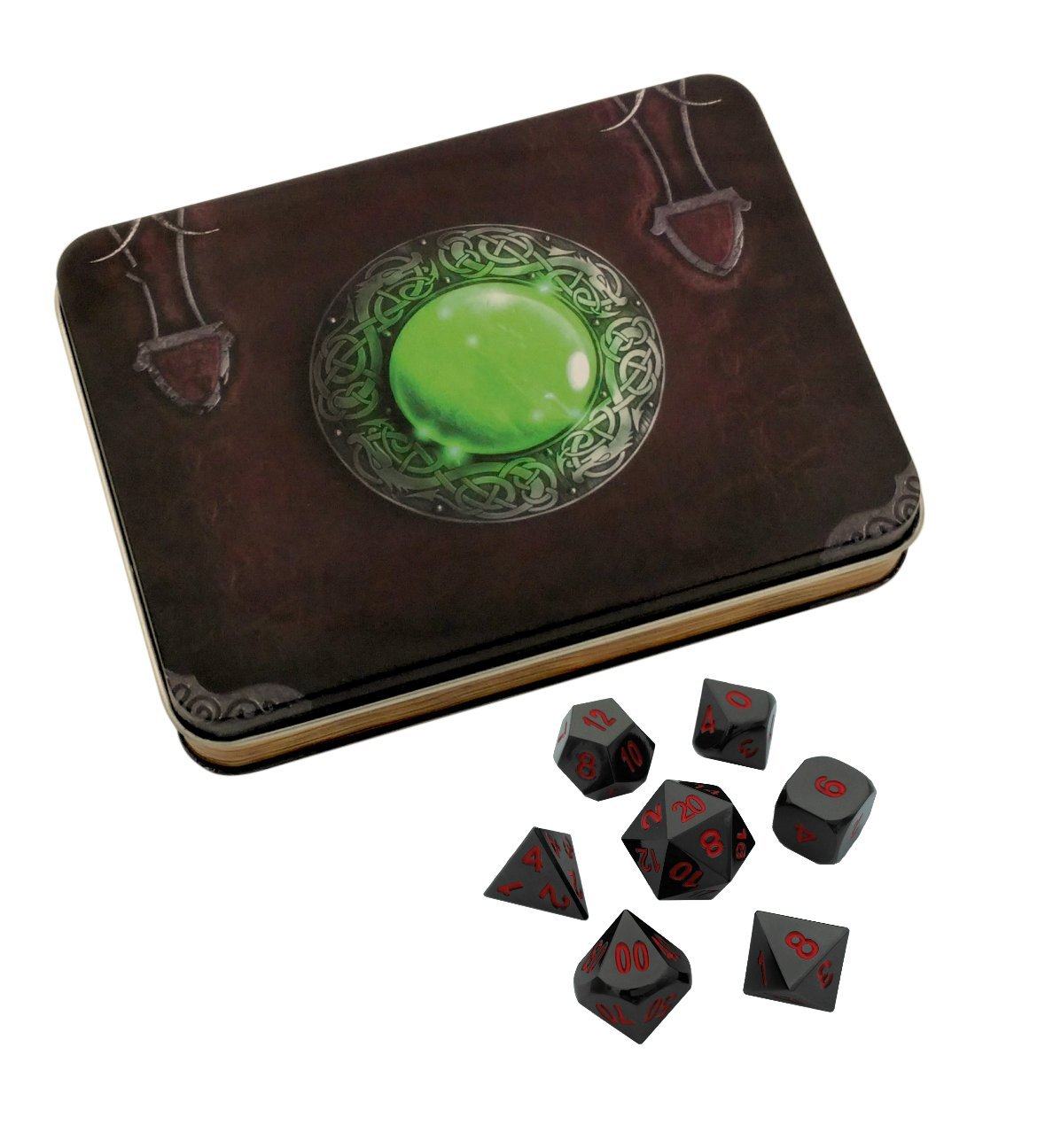 Skull Splitter Dice - Wizard's Grimoire with Smoke and Fire | Shiny Black Nickel with Red Numbers Metal Dice - Solid Metal Polyhedral Role Playing Game (RPG) Dice Set (7 Die in Pack) with Dice Case