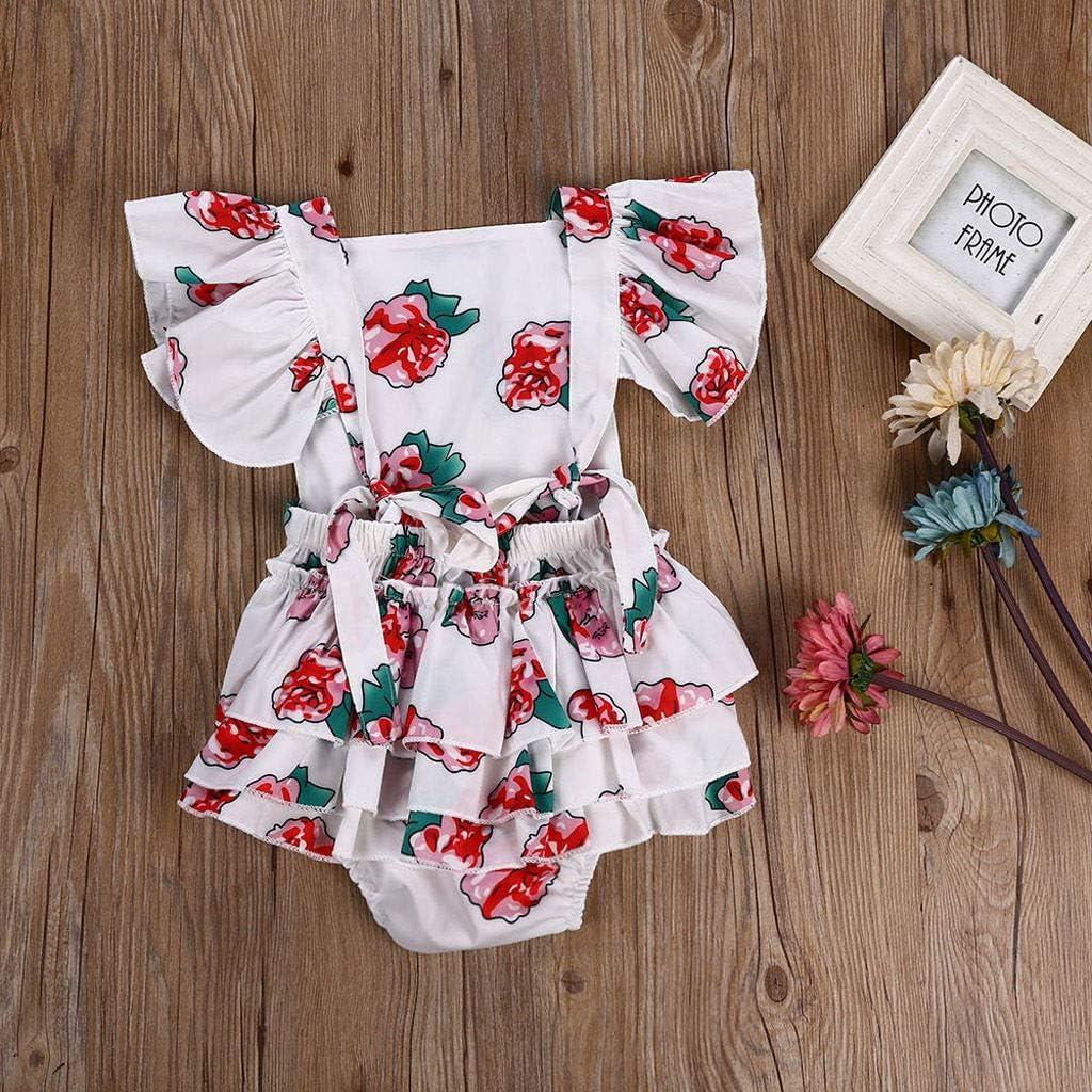 KONFA Toddler Kids Newborn Baby Girls Sleeveless Romper Clothes,Ruffles Tiered Flower Print Jumpsuit Outfit 3-24 Months
