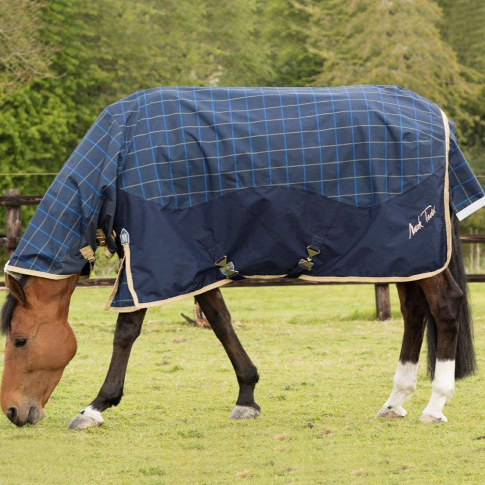 Mark Todd Unisexs Turnout Rug Lightweight Combo Navy//Beige//Royal Plaid 5 6 Blue