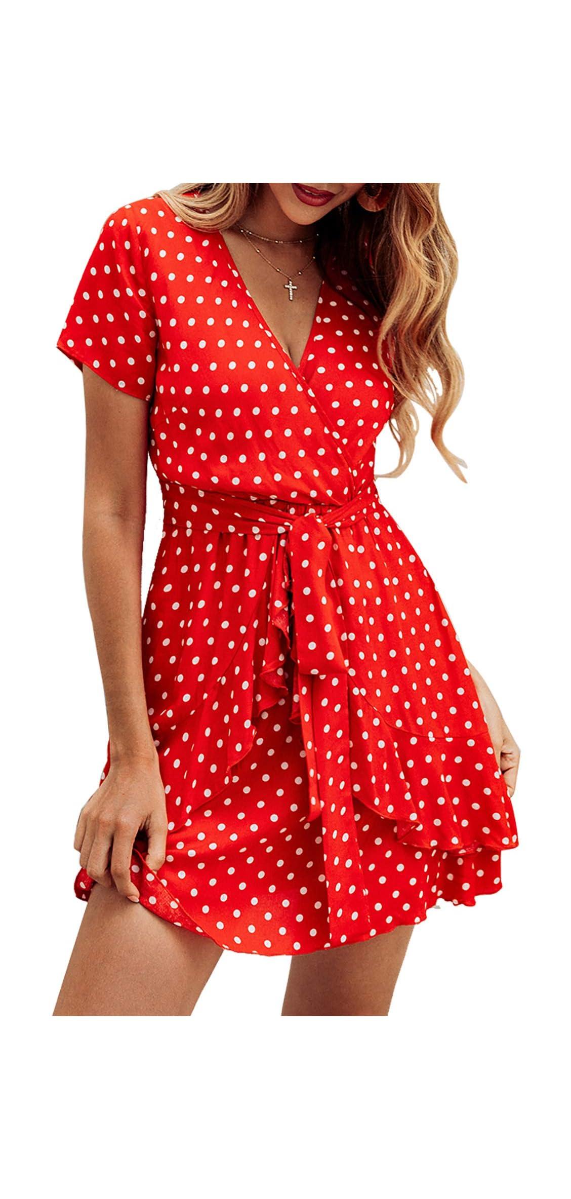 Women V Neck Short Sleeve Polka Dot Floral Pattern A-line