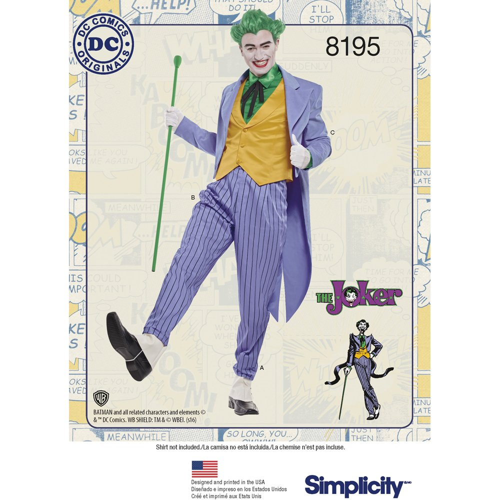 semplicità 8195Uomo DC Comics Joker Costume da Cucito, Bianco, AA (38–40–42–44) AA (38-40-42-44) Simplicity US8195AA
