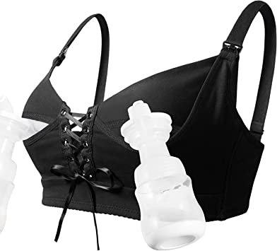 Hands Free Pumping Bra Medium Momcozy Adjustable Deep V Breast-Pumps Holding and Nursing Bra Philips Avent Evenflo and More Suitable for Breast-Pumps by Medela Spectra Lansinoh
