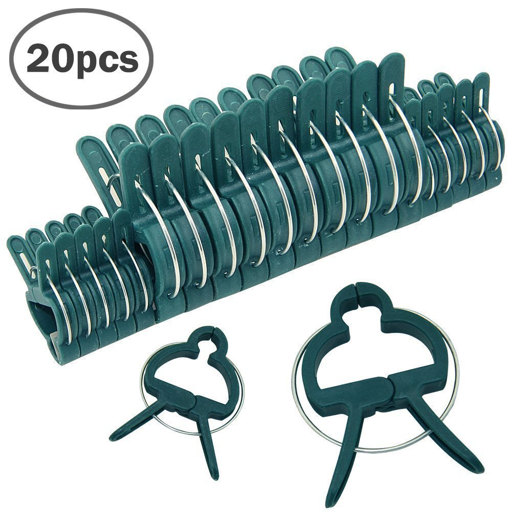 amyjazz Plastic Garden Plant Flower Support Fixing Clips Clamps Small and Large Pack of 20