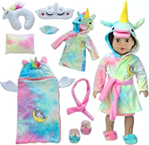 Ecore Fun 18 inch Doll Clothes and Doll Sleeping Bag Set -Unicorn-Nightgown with Matching Sleepover Masks & Pillow -Dolls Accessories for Kids-Best Gifts