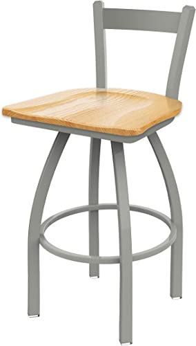 821 Catalina 25 Low Back Swivel Counter Stool with Anodized Nickel Finish and Natural Oak Seat