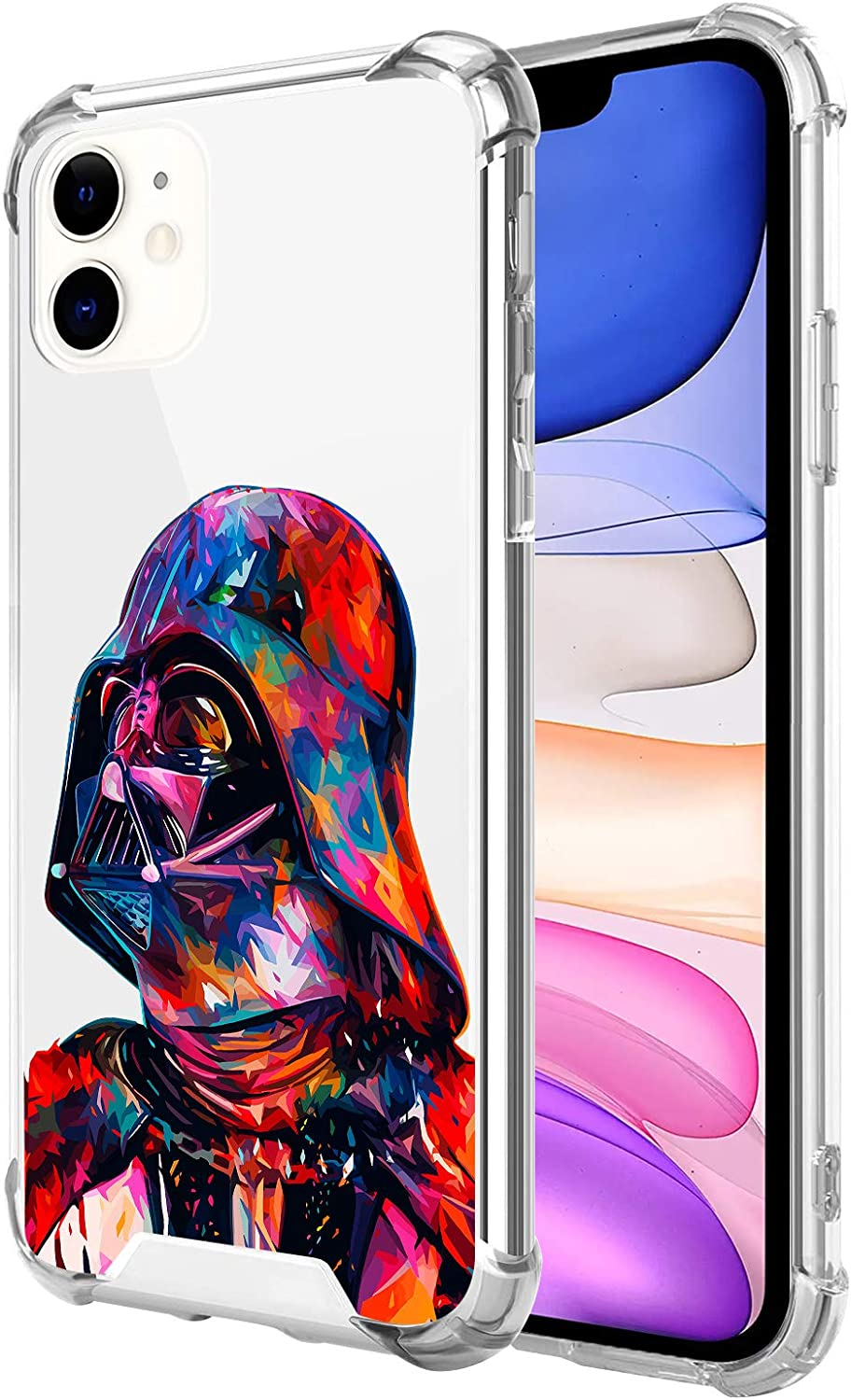 Compatible with iPhone 11 Clear Case, Shockproof Slim Fit TPU Cover Protective Phone Case for iPhone 11 6.1 inch (Star-Darth-Vader-Wars)