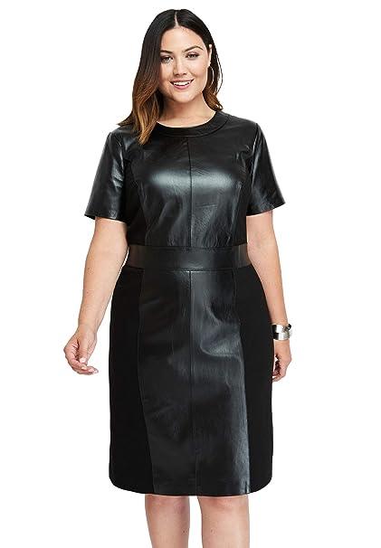Jessica London Women\'s Plus Size Leather Ponte Sheath Dress