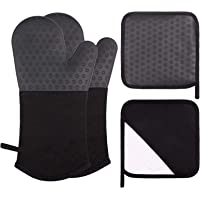 Webake Oven Mitts and Pot Holders Set of 4, 2 pcs Long Silicone Baking Oven Gloves and 2 pcs Silicone Hot Pads with…