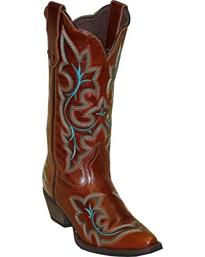 Women's Rawhide by Fancy Stitch Embroidered Western Boot Snip Toe Brown 6 M