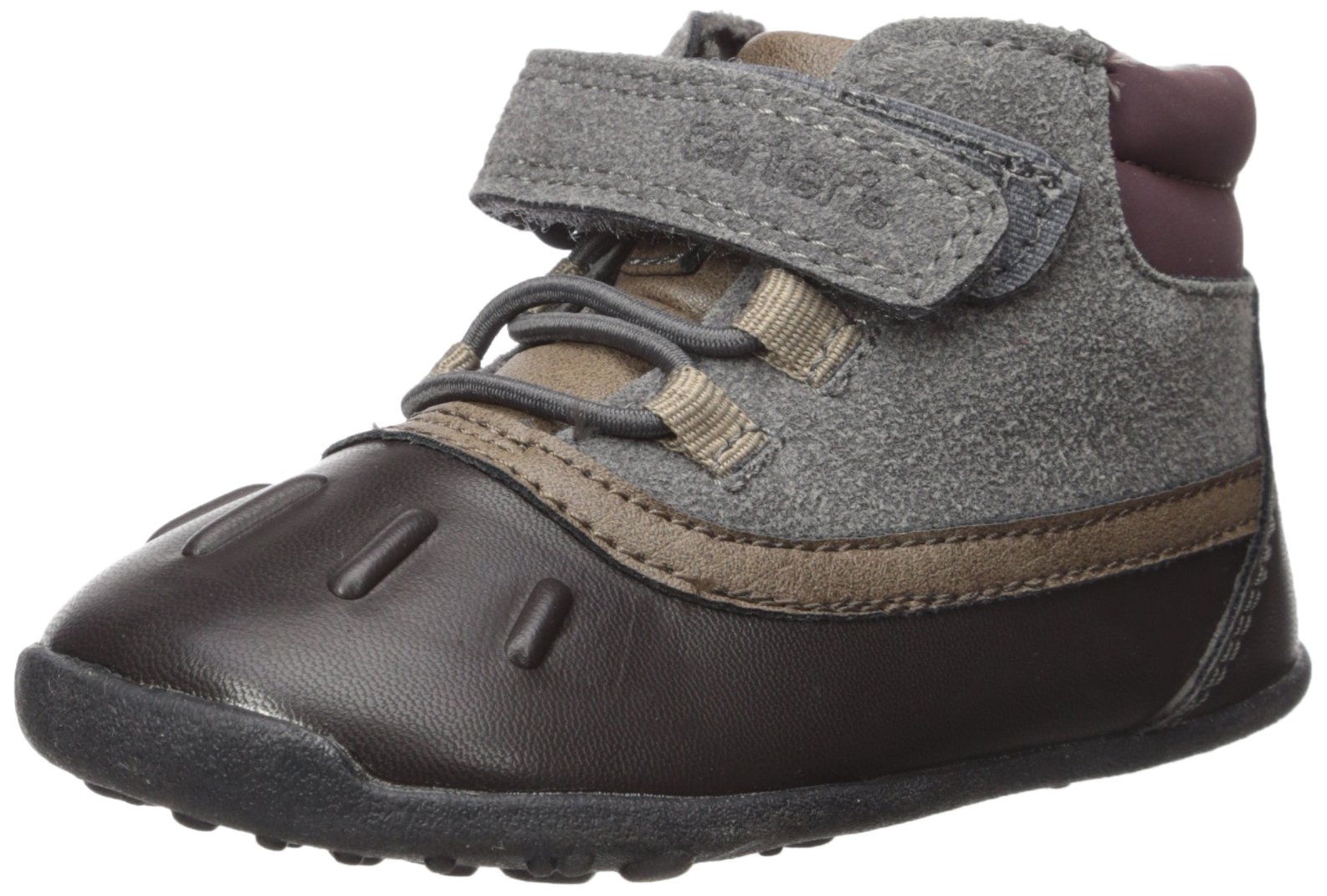 Carter's Every Step Boys' Cater's Every Step Stage 3 Walk, Jonah-WB Fashion Boot, Grey/Dark Brown, 6.0 M US (12-18 Months)