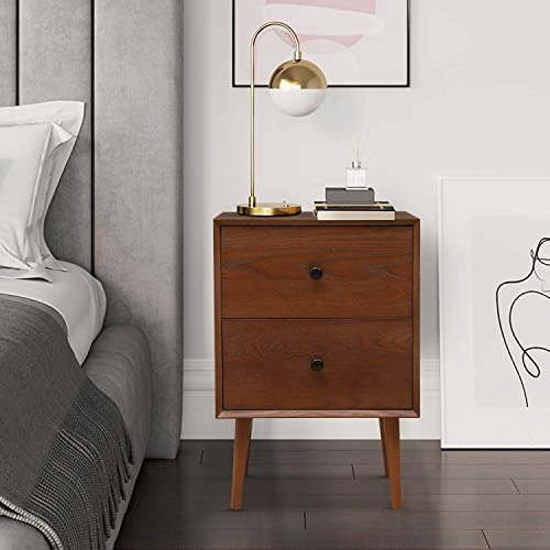 Hooseng Modern Nightstand with 2 Drawers Night Stand End Table Dresser for Home, Bedroom Accessories, Office, College Dorm, Steel Frame, Wood Top, Easy Pull Fabric Bins, Brown