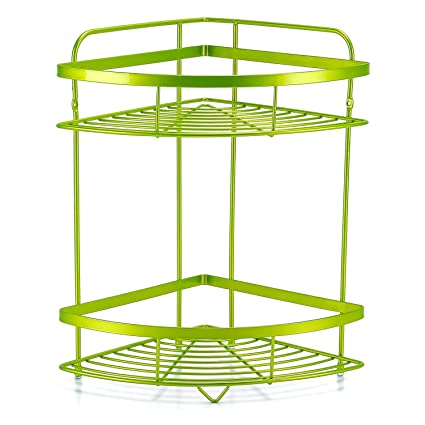 Kufox 2 Tier Corner Shelf Wall Organizer, Wall Mounted Metal Shower Caddy  Basket, Decorative