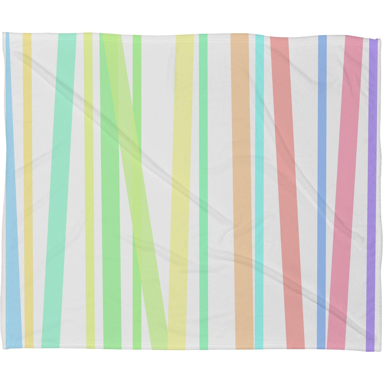 Deny Designs Lisa Argyropoulos Pastel Rainbow Stripes Fleece Throw Blanket 50 x 60