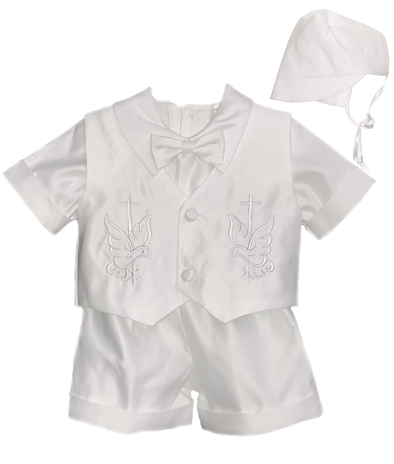 Baby Boys Baptism Outfit - Christening Short Set Cross Design Embroidery With Bonnet