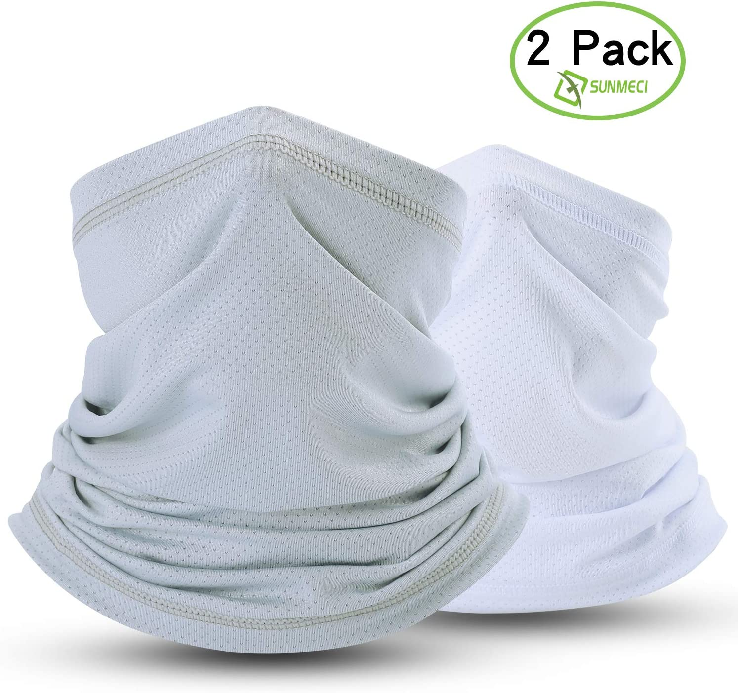 Grey+White Summer Face Cover Breathable Sun Protection Neck Gaiter for Fishing Hiking Camping Outdoors Versatile Headwrap