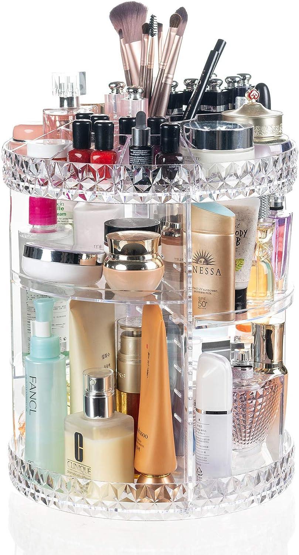 Display4top Maquillage Organisateur 360° Drehbar, Boîte de Rangement de Grande capacité, adaptée aux Bijoux, parfums, pinceaux de Maquillage, Rouges à lèvres et Plus (Transparent B)