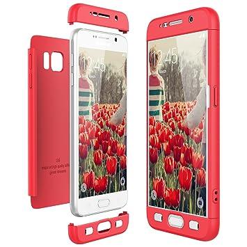 CE-Link Funda Samsung Galaxy S6, Carcasa Fundas para Samsung Galaxy S6, 3 en 1 Desmontable Ultra-Delgado Anti-Arañazos Case Protectora - Rojo/Red