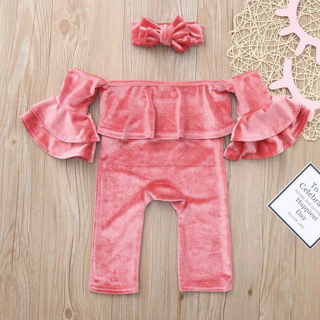 73c0b00a6 Amazon.com  Baby Girls Off Shoulder Ruffle Sleeve Romper Jumpsuit ...