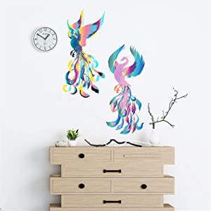 ADILAIDUN 2Pcs/Set Phoenix Wall Decals Color Feather Wall Sticker Peel and Stick Removable Decor Art Murals for Teen Boys Girls Room Kids Living Room Bedroom Home Decoration