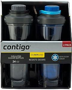 Contigo Shake & Go Fit Shaker Bottles, BPA-Free, Leak-Proof Lid, Double Wall Insulated Tritan Plastic, 24oz, 2 Pack (Black/Deep Sea Blue)