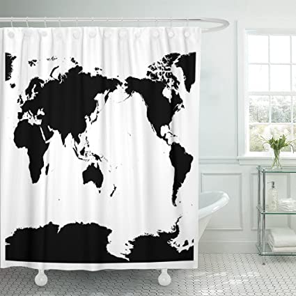 Amazon varyhome shower curtain center australia and pacific varyhome shower curtain center australia and pacific ocean centered world map high detail black silhouette on gumiabroncs Images