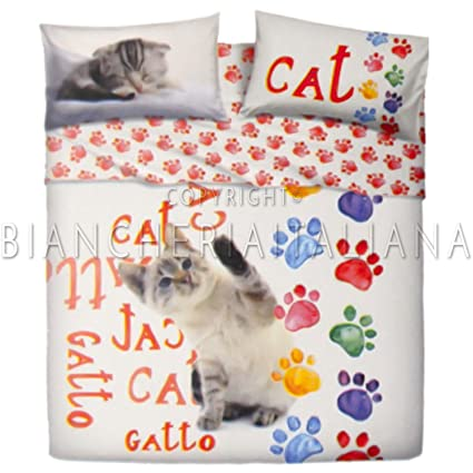 Conjunto de sábanas de matrimonio Bassetti Imagine Footsteps gato
