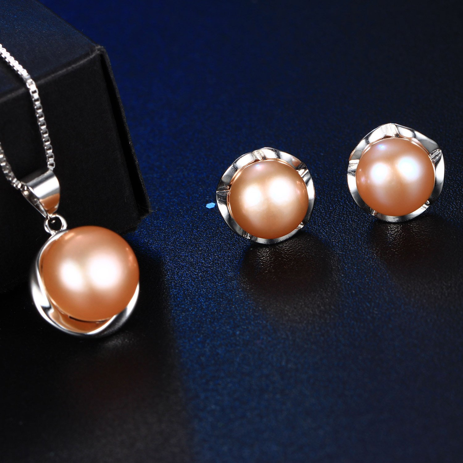 2d64e5329 Amazon.com: HENGSHENG Natural Pearl Jewelry Set For Women 925 Sterling  Silver Pendant Necklace and Earring Set 10-11mm Pearl(cpset014): Jewelry