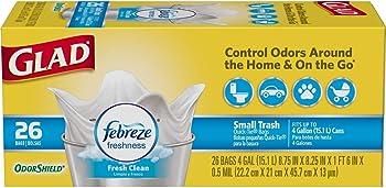 156-Count (6 x 26-Count) Glad OdorShield 4-Gallon Trash Bags