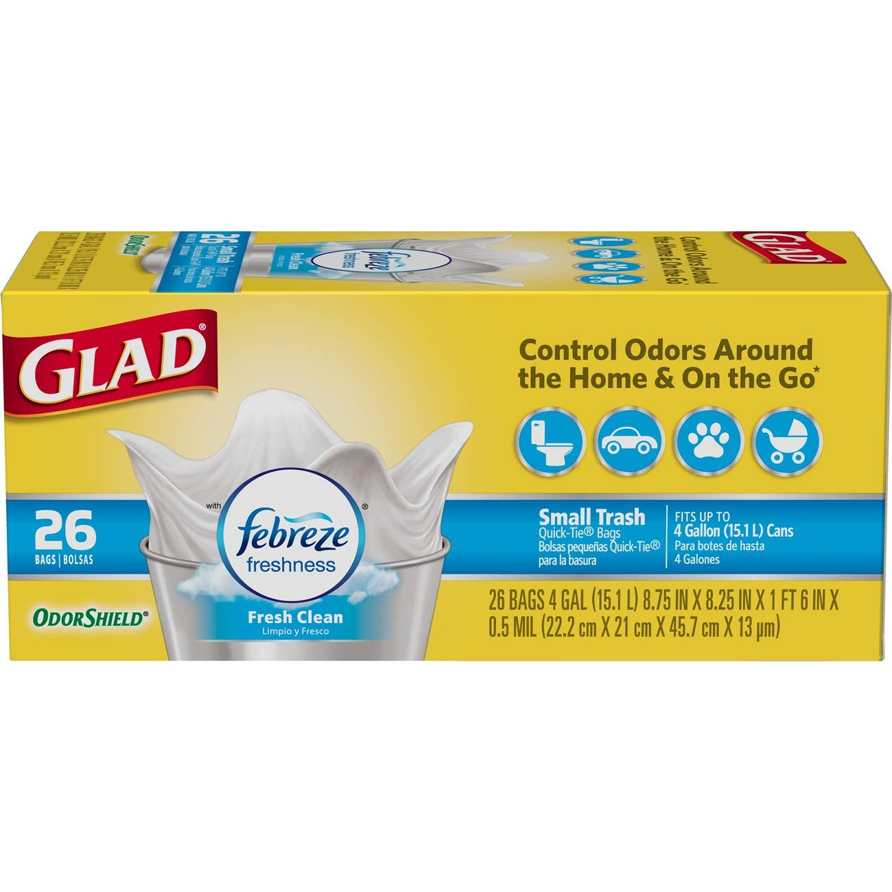 Glad Small Trash Bags - OdorShield 4 Gallon White Trash Bag, Febreze Fresh Clean - 26 Count Each (Pack of 6) by Glad