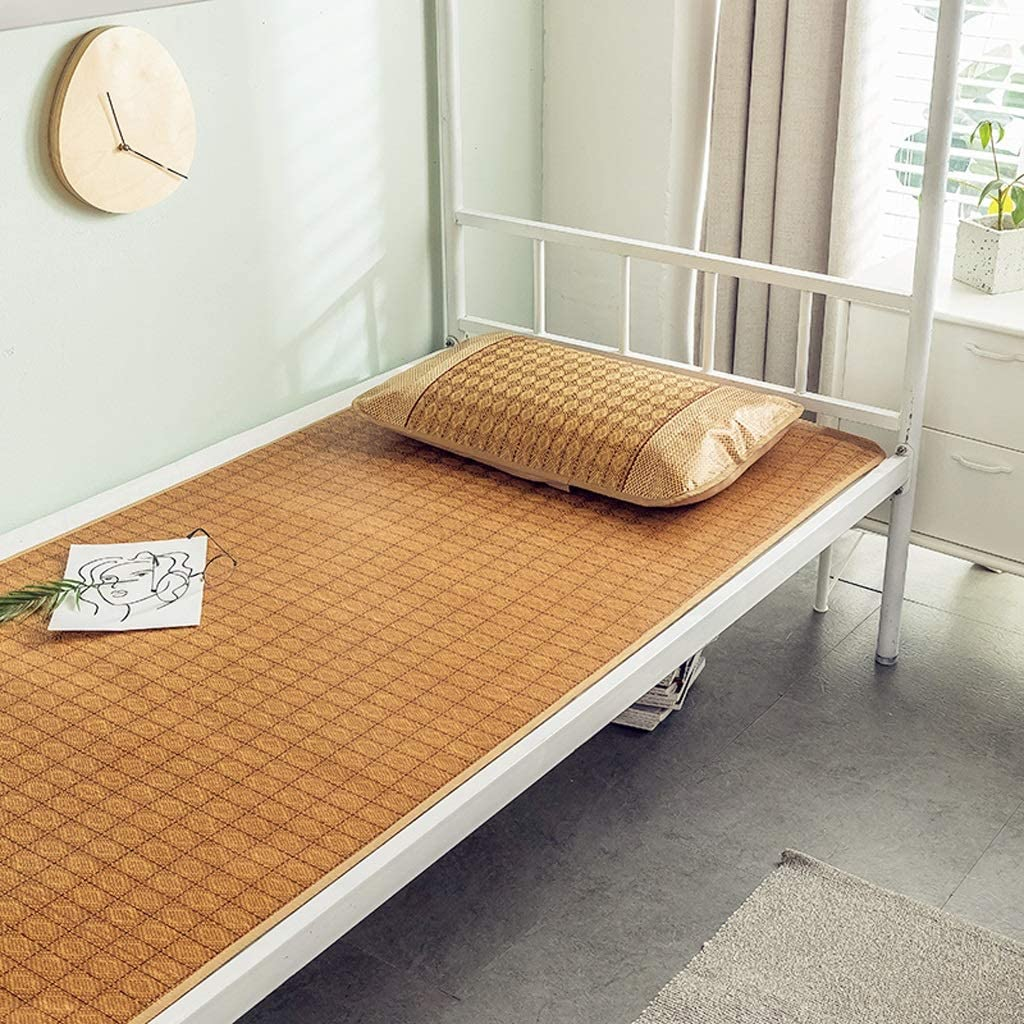 Summer Sleeping Mat Bamboo, Cool But Not Ice Foldable, Single Bed Student Dormitory Bamboo Mat (Size : Two Piece-0.9m Bed)