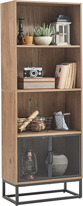 Linsy Home Wood Bookcase, Large Bookshelf with Metal Mesh for Home Office Hotel Library.