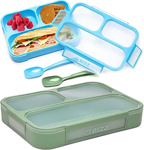 Amazon Com Bizz Bento Lunch Boxes With Spoon 2 Pack 3 Compartment Leakproof Food Storage Container Work Home School Meal Prep Portion Control Dry Or Liquid Men Women Kids Kitchen Dining