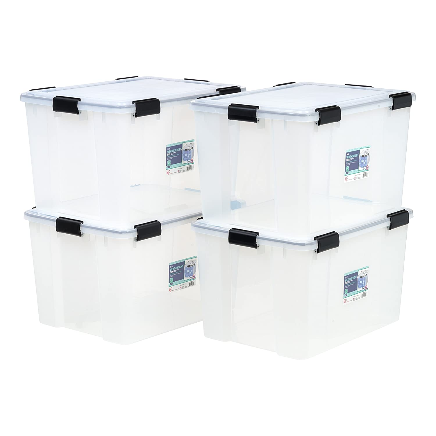 IRIS 74 Quart WEATHERTIGHT Storage Box, 4 Pack, Clear