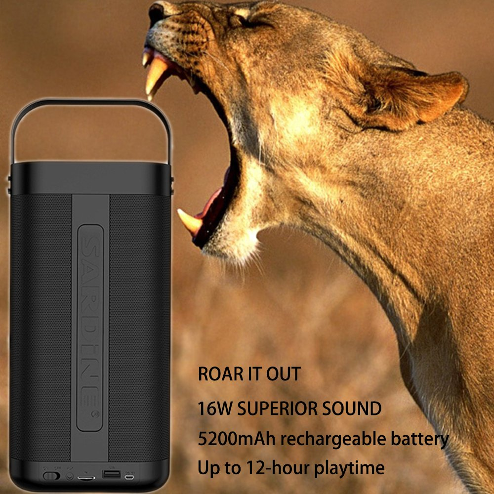 SARDiNE Outdoor Bluetooth Speaker, 16W Output from Dual 8W Drivers, Two Passive Subwoofers, Built-in Mic 5200mah Battery, Perfect for Karaoke, iPhone, iPad, Samsung GALAXY Series(Black,with Mic) by SARDINE (Image #5)