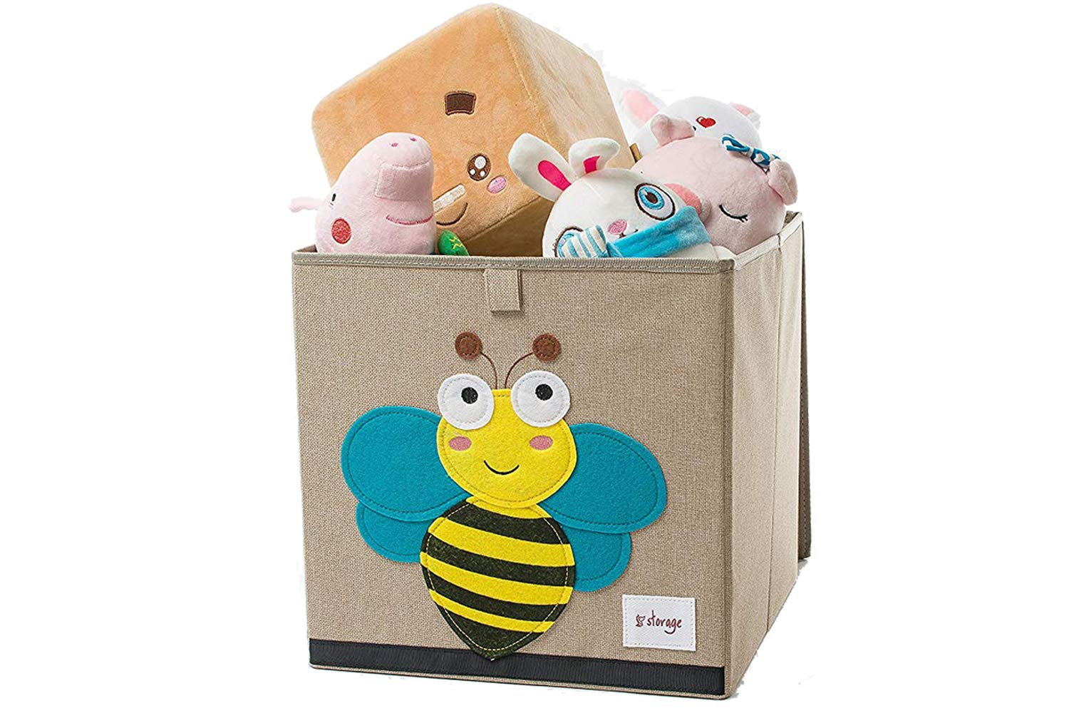 TruReey storage chest with lid, sturdy, foldable, and easy to clean, toy storage containers, 33X33X33cm, Bee