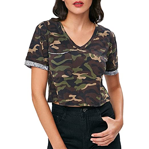 daf491873 Amazon.com: Jushye Women's Camouflage Blouse, Ladies Fashion Fashion Blouse Short  Sleeve V-Neck Shirt T Shirts: Clothing