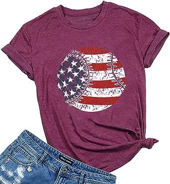 UNIQUEONE Women's American Flag Baseball Printed T-Shirt O-Neck Short Sleeve Causal Tops