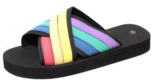 Damen Fit Pantoletten Slipper Flip Flop Sandale Schuhe mit Kreuzbandage Gr.37-41 BEACH FASHION in REGENBOGEN FARBEN