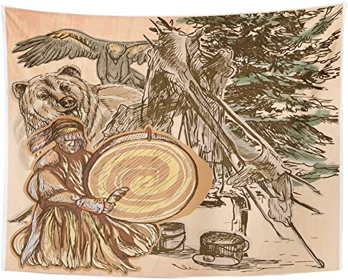 Emvency Tapestry Wall Hanging Polyester Fabric Shaman Native Man Drum Drummer Sitting in The Forest Near Him are Grizzly Bear for Bedroom Living Bedspread Room Dorm Decorations 60×80 Inches