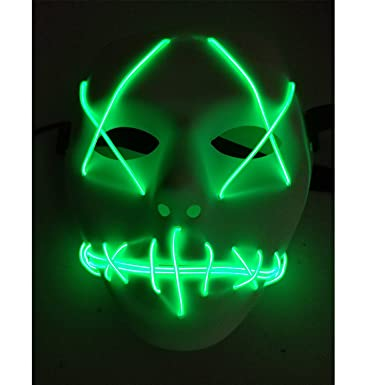 Amazon.com: A-MORE Halloween Mask Cosplay LED Glow Scary EL Wire ...