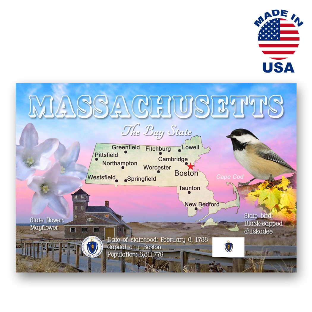 Amazon.com : MASSACHUSETTS MAP postcard set of 20 identical postcards. MA state map post cards. Made in USA. : Office Products