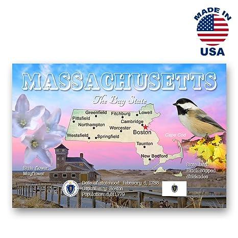 Amazon Massachusetts Map Postcard Set Of 20 Identical