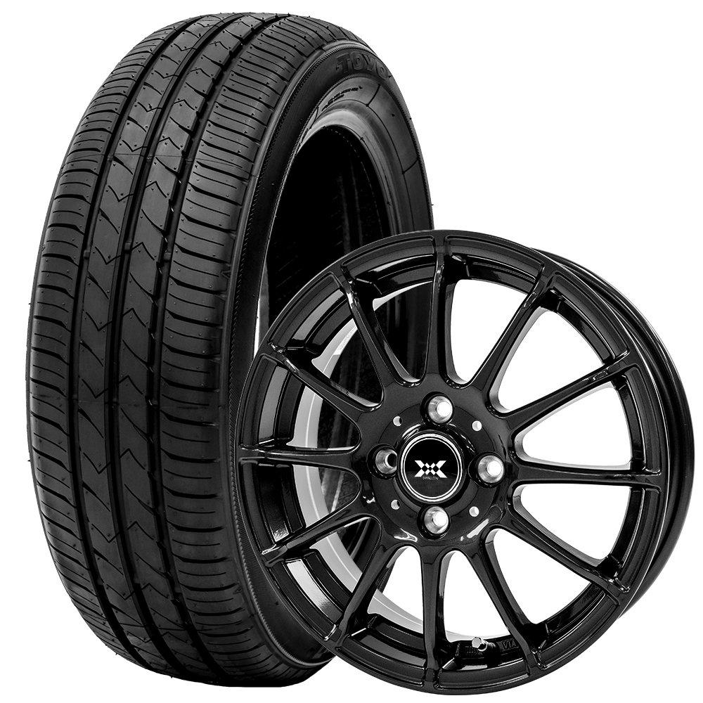 トーヨータイヤ サマータイヤ ホイールセット 175/65R15 4本セット アクア ヴィッツ アクシオ フィールダー 低燃費スタンダードタイヤ (ブラック)(TOYOTIRE)(TOYOTIERS) SD-7 B07D8PSK3S