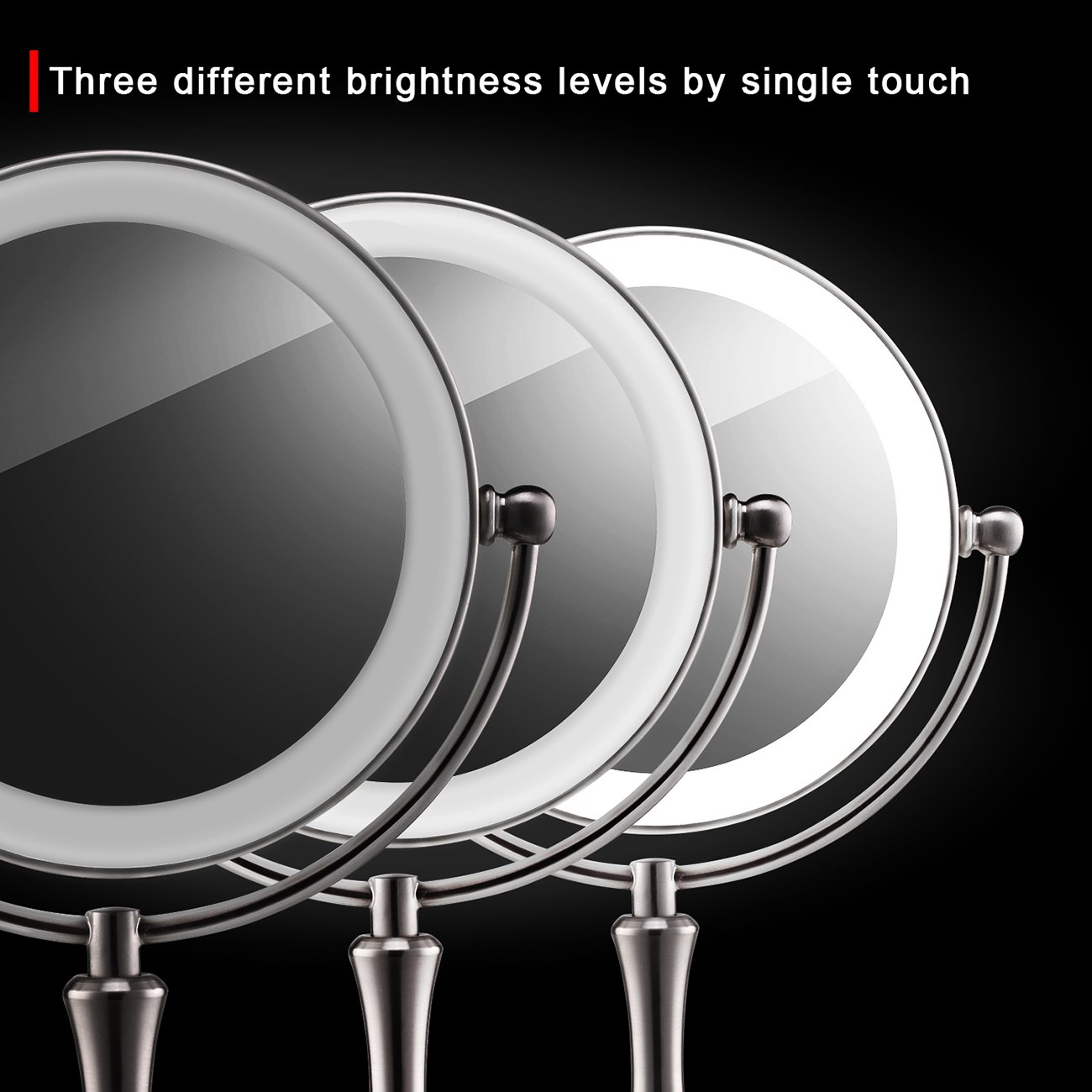 Makeup Mirror with Lights Lighted Makeup Mirror LED Vanity Mirror 7X Magnifying Magnified Double Sided Makeup Mirror Adjustable Cool White Light Mirror Large Makeup Corded Cordless Mirror Nickel