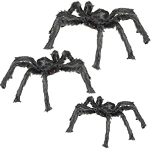 """3 Pack Halloween Spider Decorations, Shellvcase Fake Large Hairy Spider Props with Bendable Legs, Realistic Halloween Spider Set for Indoor Outdoor Decorations Party Supplies Decor (30"""", 36"""", 50"""")"""