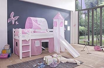 Hochbett Kinderbett mit Rutsche inkl Vorhang Massiv Kiefer Natur Lilly
