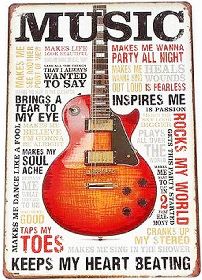 Photographie 30x20cm Coffee Plaque m/étal Vintage d/écoration Mural Poster Affiche USA Id/ées Cadeaux Guitare SARED Lot de 5 Affiches en Plaque m/étal Bouche